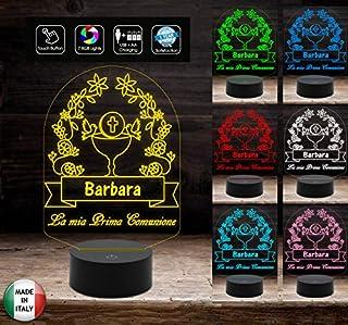 Lampada led 7 colori selezionabili con touch PRIMA COMUNIONE Segnatavolo Decorazione casa ristorante