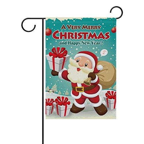 coosun Design Noël Poster Vintage polyester drapeau Jardin dans le jardin libre drapeau Home Party Décor, double face, 12 x 18