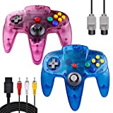 ZeroStory Classic N64 Controller, Wired N64 Controller Joystick with 5.9 Ft N64 AV Cable for N64 Video Game Console (Sapphire Blue and Transparent Purple)
