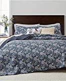 Martha Stewart Collection Iridescent Peony Stone Wash Full/Queen Quilt Blue