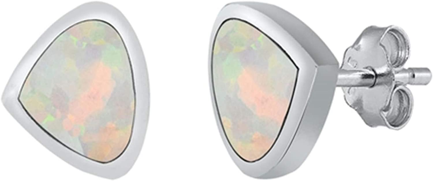 Sterling Silver Guitar Pick Small Created Stud Earrings Whit Lab Regular dealer Max 51% OFF