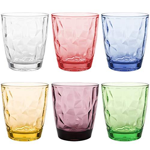 Hedume Set of 6 Unbreakable Premium Drinking Glasses, 6 Colors 13.5 Oz Stackable Tritan Tumbler Cups, BPA Free, Dishwasher Safe
