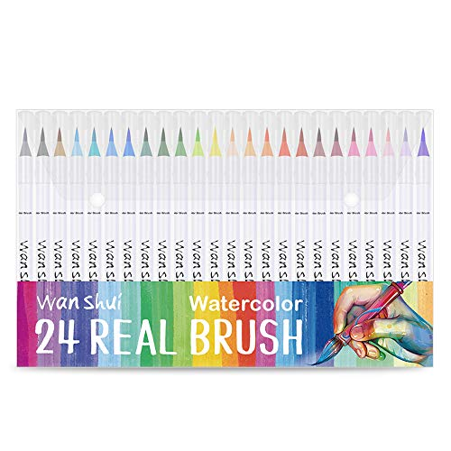 24 Real Brush Pen - Premium Quality Vibrant Colors Soft Flexible Brush Tip Watercolor Markers with a Palette, Best for Adult Coloring Books, Manga, Comic, Calligraphy