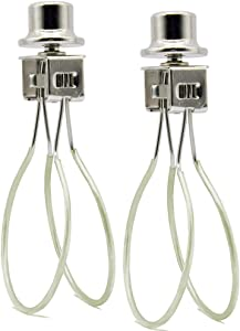 Lamp Shade Light Bulb Clip Adapter,Lamp Shade Holder Includes Finial and Lampshade Levellers to Keep Lamp Shade in Place,Clip on Lampshade Adapter (Nickel Color - 2PCS / Pack)