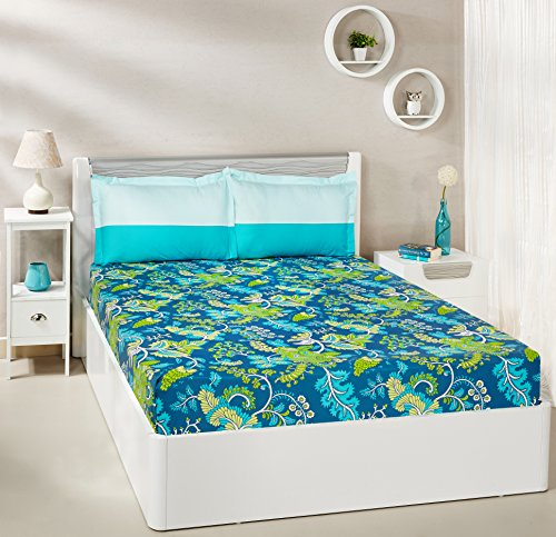 Solimo Floral Foliage 144 TC 100% Cotton Double Bedsheet with 2 Pillow Covers, Teal