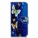 Tophung Funda para Samsung Galaxy J6, [Funda Tipo Cartera] de Piel sintética Suave con función Atril, Tarjetero y Ranura para identificación, Funda Protectora para Samsung Galaxy J6, Blue Butterfly