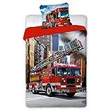 SaYes Bettwäsche mit Feuerwehrauto, 100% Baumwolle, 140 x 200 cm, 70 x 90 cm