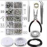 Kit de accesorios de joyería hechos a mano, DIY Pendiente Fabricación De Joyas Accesorios, accesorios para manualidades con pinzas, juego de reparación de joyas para la fabricación de joyas (plata)
