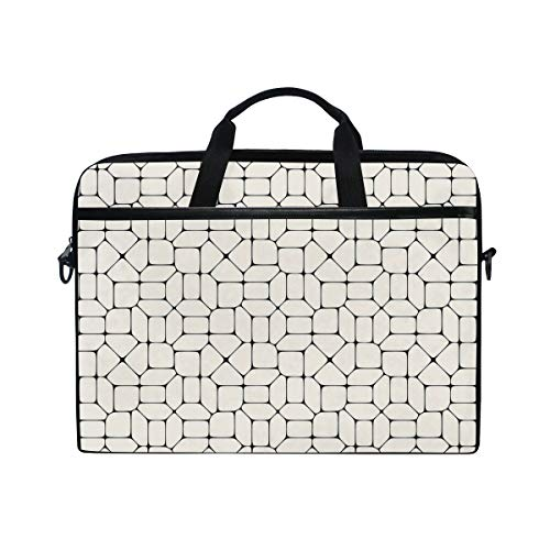 VICAFUCI New 15-15.4 Zoll Laptop Tasche,Umhängetasche,Handtasche,Schwarzweiss-Mosaik-Pflasterungs-Fliesen-Ziegelstein-modernes Begriffstracery-Design