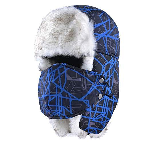 Wijider Ushanka Sombrero de Estilo Ruso Unisex para Mujer Sombreros de Invierno para Hombres Gorro de Máscara Triciclo Orejeras Hueso Cálido Gorros de Nieve Ushanka Azul
