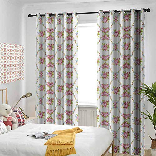 Shabby Chic for Bedroom-Grommet Insulation Room Curvy Borders with Rose Blossoms Retro Feminine Flora Waves Garland Inspired Patterned Curtains in The Living Room 2 Panels per Group W108 x L72 Inch M
