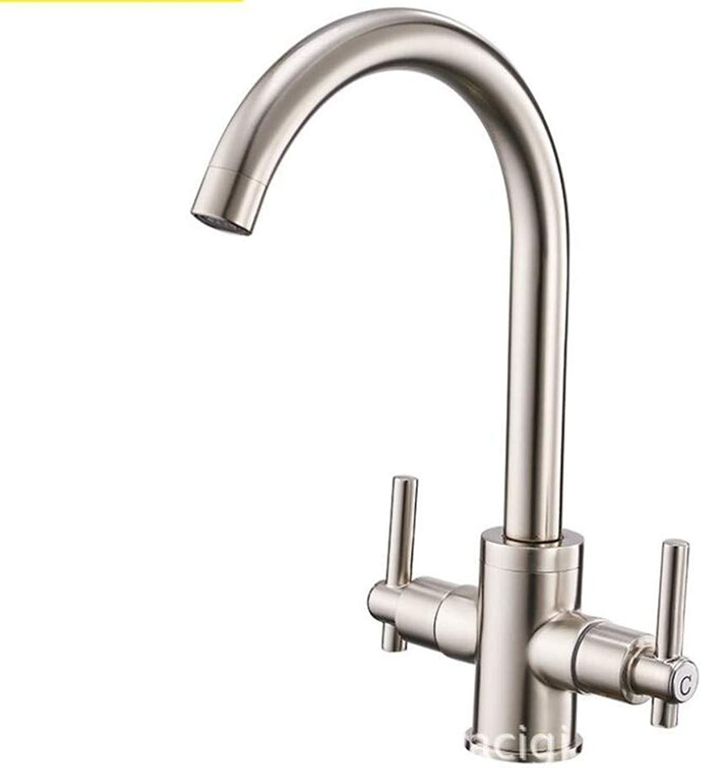 Bathroom Sink Basin Lever Mixer Tap New Double-Open Kitchen Cold and Hot Water Faucet Wire Drawing Sink Faucet