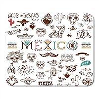 マウスパッドフリーダスカルメキシコデッドデイスケッチメキシコシュガータコスマウスパッド用ノートブック、デスクトップコンピュータマットオフィス用品