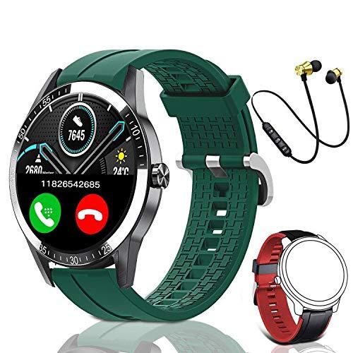 Smartwatch, Reloj Inteligente Mujer Hombre Niños Fitness Tracker, Pulsera de Actividad Inteligente Contador de Caloría Monitoreo Pulsómetros Auriculares Bluetooth Deportivos, para Android iOS(Verde)