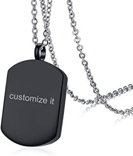 PJ Custom Engraved Cremation Container Ash Urn Remembrance Necklace Personalized Dog Tag Pendant