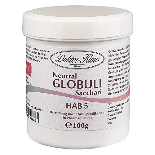 100g Neutral Globuli HAB 5, Doktor-Klaus, reine Saccharose, in weisser Kapselbox