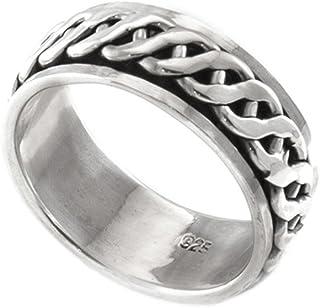 Silverly 男女中性款式 925纯银 凯尔特绳 可旋转转运拇指戒指指环