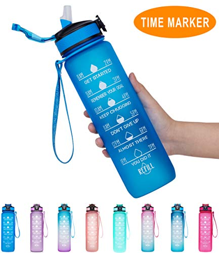 Giotto 32oz Large Leakproof BPA Free Drinking Water Bottle with Time Marker & Straw to Ensure You Drink Enough Water Throughout The Day for Fitness and Outdoor Enthusiasts-Blue