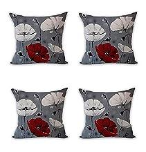 Nunubee - Juego de 4 Fundas de cojín Decorativas, sofá escandinavo, decoración de Flores, Color Rojo, Gris, 45 x 45 cm