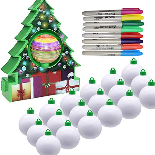 Deosdum Christmas Tree Ornament Decorating Kit for Kids, Painting Ball Christmas Tree Jewelry Craft Activity Game, Xmas Tree Decor Kit Painting Ball Toy DIY Ornament Maker