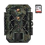 Cámara de Caza de Doble Lente 4K 32MP Camara Fototrampeo con Visión Nocturna 25m Camara Caza Led Invisible con Velocidad de Disparo de 0,1 Segundos Fototrampeo con Tarjeta SD de 32GB