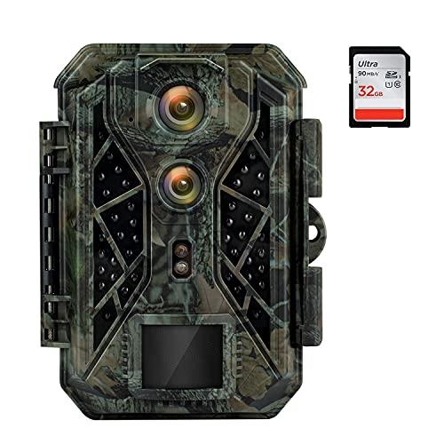 HAPIMP Wildkamera 4K 32MP mit Bewegungsmelder Nachtsicht Wildtierkamera 0,1s Auslösegeschwindigkeit Abzugsentfernung Bis 25m 42 pcs IR LEDs IP66 Wasserdichter Nachtsichtkamera Max Speicherplatz 512 GB