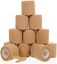 Self Adherent Cohesive Wrap Bandages (12-Pack) Bundle - 2inch-Wide 5yds Self Adhesive Non Woven Bandage Rolls -Brown Athletic Tape for Wrist - Breathable Athletic Tape - Medical Stretch Wrap Roll