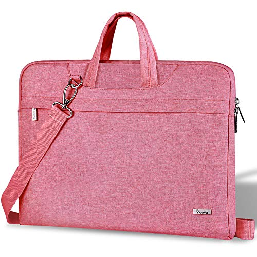 Voova Laptop Bag 14-15.6 Inch, Waterproof Laptop Case Sleeve with Shoulder Starp, Computer Cover Compatible with MacBook Pro 16, Dell XPS 15, Acer Asus Hp Chormebook for women ladies& girls -Pink