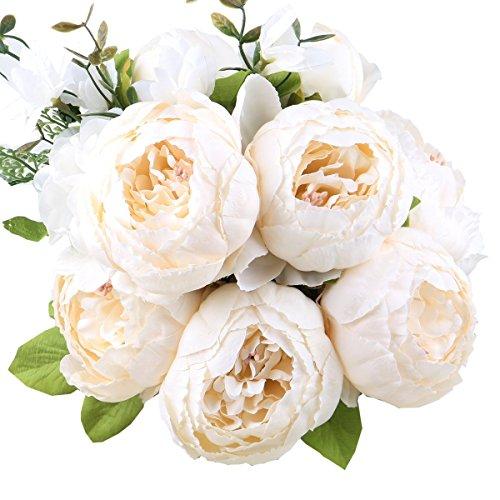 StarLifey Artificiale Peonia Bouquet Fiori di Seta Centrotavola Disposizione Decorazioni Floreali per la casa e Il Matrimonio Bianco Latte