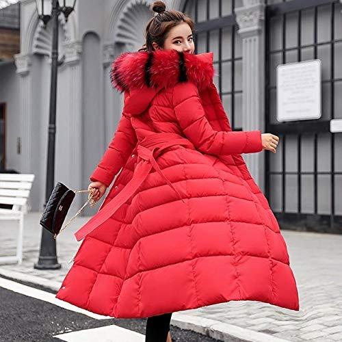 SWAQS Jas Vrouwen 2019 Kraag Hooded Rits Lange Jas Vrouwen Jas Riem Warm Vrouwen Winter Jas XXL Rode Bont kraag