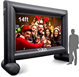 Tusy 14 Feet Inflatable Outdoor and Indoor Mega Movie Projection Screen - Includes Inflation Fan,Tent Pile, and Full Package with Storage Bag