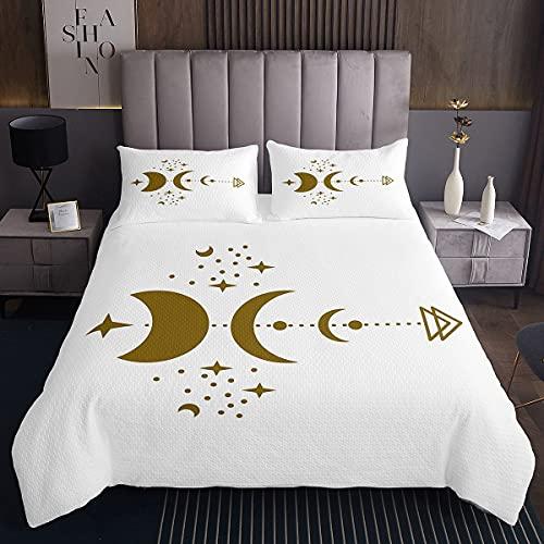 Colcha para niños con diseño de luna bordada, diseño bohemio, para niños y niñas, con 2 fundas de almohada, 3 piezas, cama doble