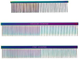 Master Grooming Tools Rainbow Greyhound Combs — European-Style Combs for Grooming Dogs - Medium/Coarse, 7½""