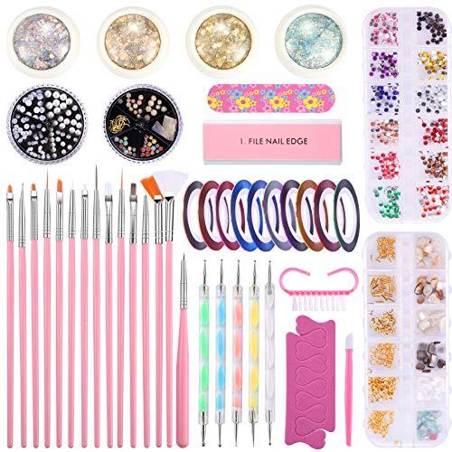 juehu 44 piezas Kit de Diseño de Arte de Uña Cintas Adhesivas Uñas, cáscara Uñas de Estrás Kit de Herramientas para Manicura Accesorios uñas purpurinas para decoración de diseño de uñas