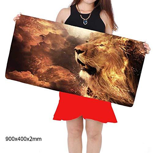 HonGHUAHUI Lions Head Animal Large muismat toetsenbord onderlegger 400X900X3MM A06
