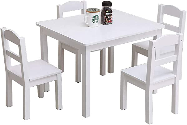Festnight 5 Pieces Kids Table And Chairs Set Wood Activity White Table With 4 Chairs Set 3 Years And Up Age Girls Boys Play Picnic Educational Dining Wooden Table Playroom Furniture