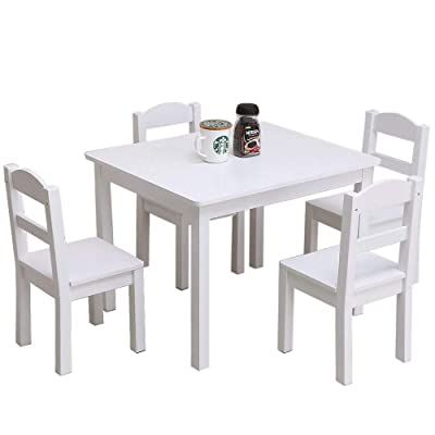 Kids Wood Table  4 Chairs Set (White)