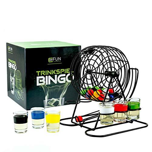 Fun Cooperation Trinkspiel Bingo | Das Beste Trinkspiel für Jeden Anlass! Inkl. 6 Shotgläser| Die Perfekte Geschenkidee!