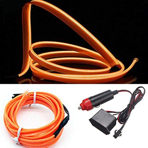 Tira de luces LED de neón electroluminiscente (EL) para decoración interior de coches, funciona con el mechero del coche, 12 V