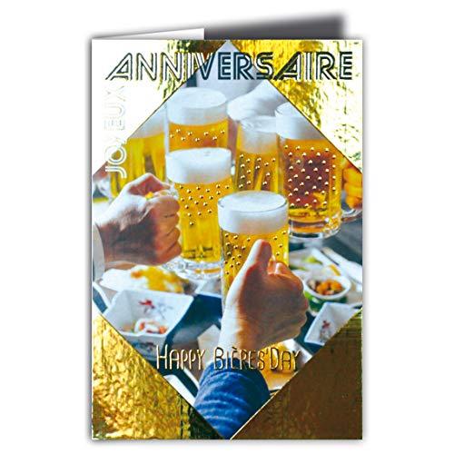 69-4067 Glückwunschkarte Happy Bier Day Party Gold glänzend