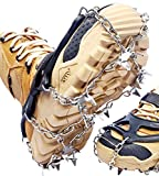BOGI Crampons Ice Cleats 19 Spikes Traction Cleats Ice Snow Grips Anti-Slip Stainless Steel Spikes for Men Women Shoes Boots, Safe Protect for Walking,Jogging, Climbing,Hiking,Fishing