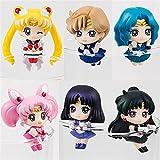 6 Piezas Anime Sailor Moon Taza De Té Decoraciones Figuras De Acción Juguetes para Niños Tsukino Usagi Chibi USA Sailor Uranus Plutón Neptuno Saturno