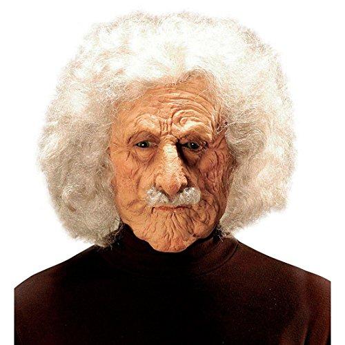 NET TOYS Albert Einstein Maske Alter Mann Faschingsmaske Opa Gesicht Kopfmaske Professor Vollmaske Physiker Karnevalsmaske Wissenschaftler Kostüm Zubehör