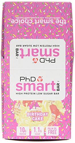 PhD Smart Bar, High Protein Low sugar chocolate coated snack (Birthday Cake), 24 Half size Bars