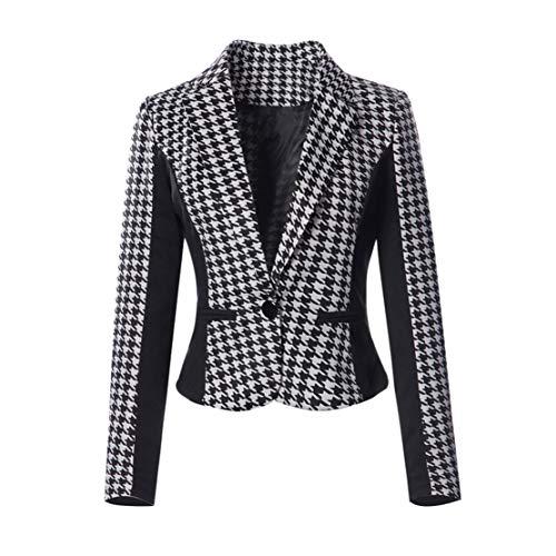 Yieks Damen Kurzer Taillierter Blazer mit Hahnentritt Muster in Colour Blocking Optik, Schwarz/Weiß 38