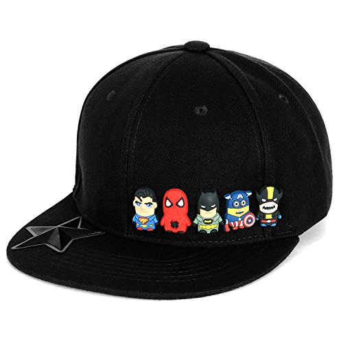 ililily Cute Superheroes Rubber Charms New Era Style Snapback Hat Baseball Cap (ballcap-1413-1)