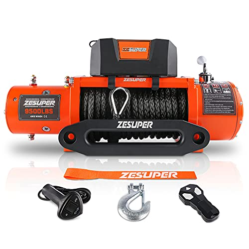ZESUPER 9500 lbs Capacity Electric Winch Kit Waterproof IP67 Electric Winch Hawse Fairlead for Truck,SUV with Both Wireless Handheld Remote and Corded Control Recovery Synthetic Rope Orange
