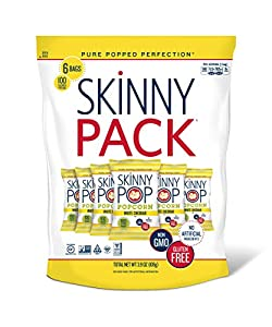 6-pack of 0.65oz 100-calorie size popcorn bags of SkinnyPop White Cheddar Popped Popcorn SkinnyPop popcorn is a great-tasting, gluten free and non-GMO snack with no artificial ingredients Our delicious popcorn is a great alternative to Annie's Popcor...