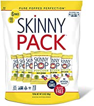 SkinnyPop White Cheddar Popped Popcorn, 100 Calorie Bags, Vegan, Gluten-free, Non-GMO, 0.65 oz Individual Snack Sized Bags (Pack of 6), Cheddar-Cheese, 3.9 Oz