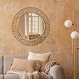 WOMO-DESIGN Espejo de Pared Caracas Ø 80 cm Redondo de Cristal Marco de Metal Dorado Colgante de Diseño Moderno Elegante Circular Decorativo de Baño Espejo de Maquillaje Tocador Vestidor